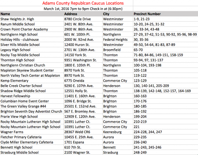 Co Caucus locations