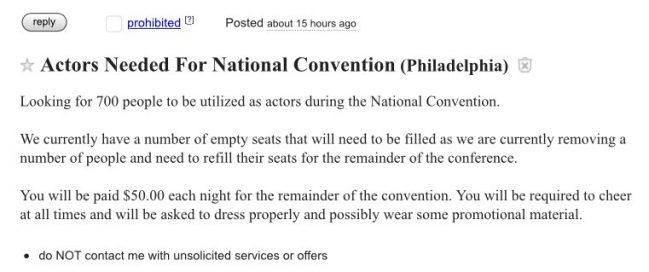 Craig's list ad for DNC convention